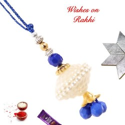 White Pearls and Beads Lumba Rakhi