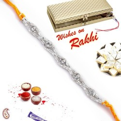 White Stones and Silver Chain Rakhi