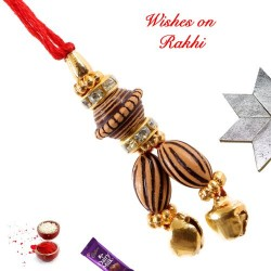 Wooden Beads with AD Lumba Rakhi