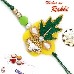 Yellow and Green Zardozi Rakhi with Colorful Beads
