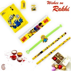 Yellow Minion Pouch Box and Rakhi Kids Hamper