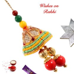 Zardosi and Colorful Beads Lumba Rakhi