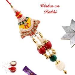 Zardosi Beads AD and Pearls Work Lumba Rakhi