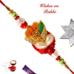 Zardosi Pearls and Beads Rakhi
